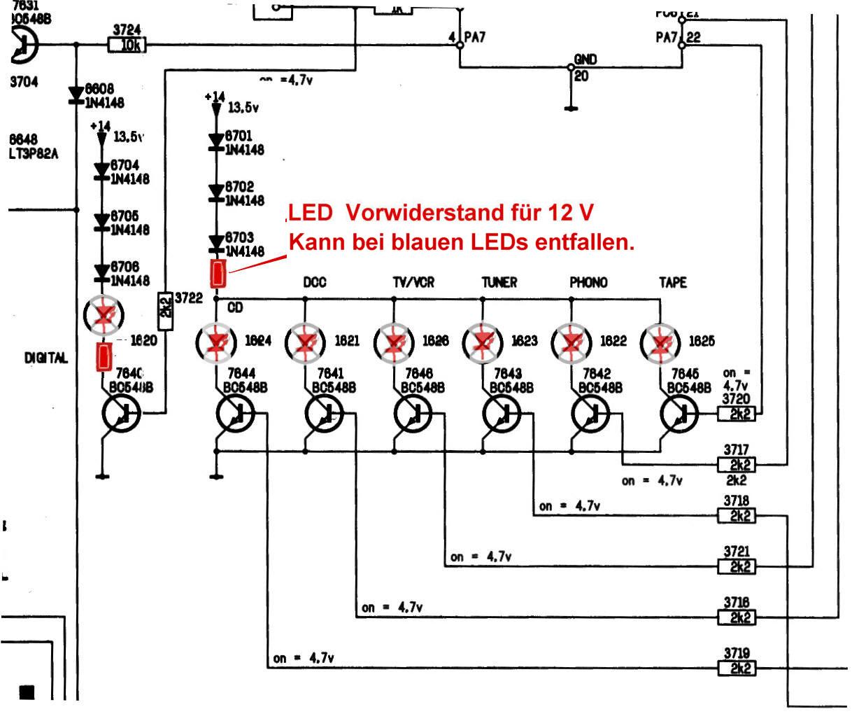 Philips FA 930 BILD 9 Schaltplan Anzeige - LED Umrüstung